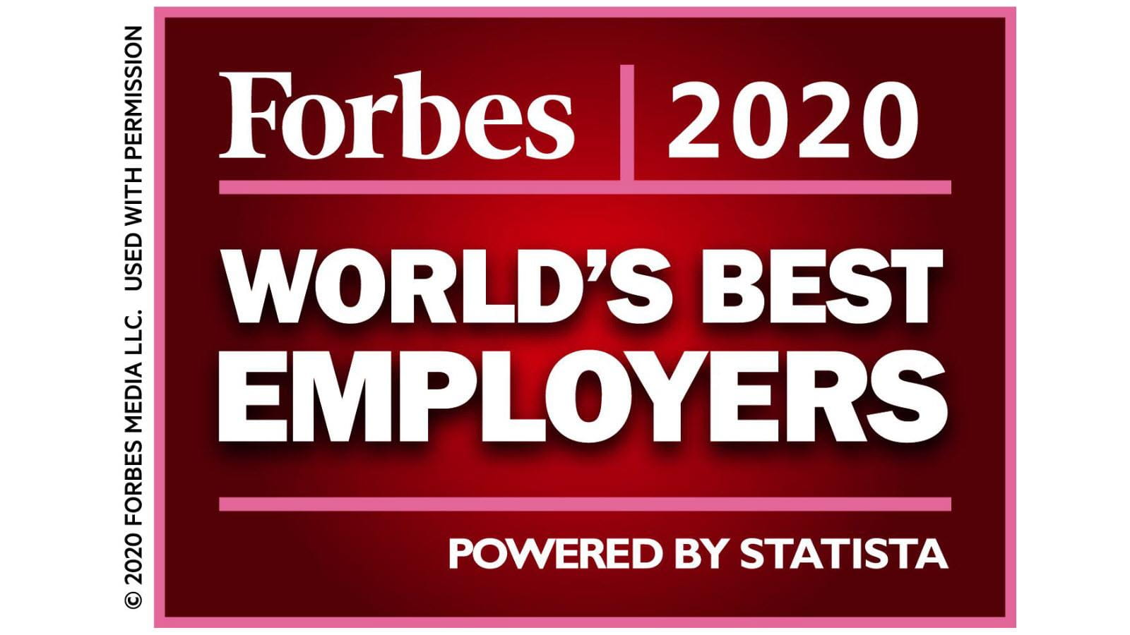 Forbes logo for World's Best Employers 2020