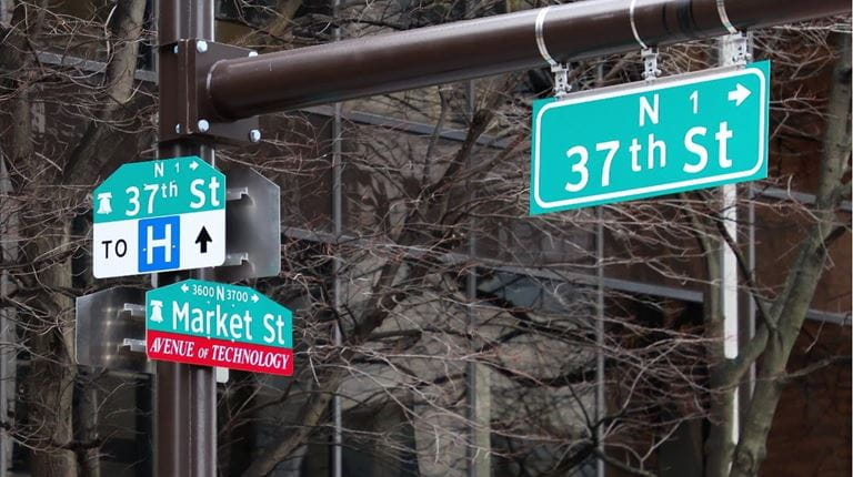 37th and Market street signs at the University City Science Center lab in Philadelphia