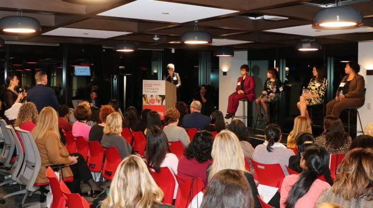 Q&A at at a women in technology event