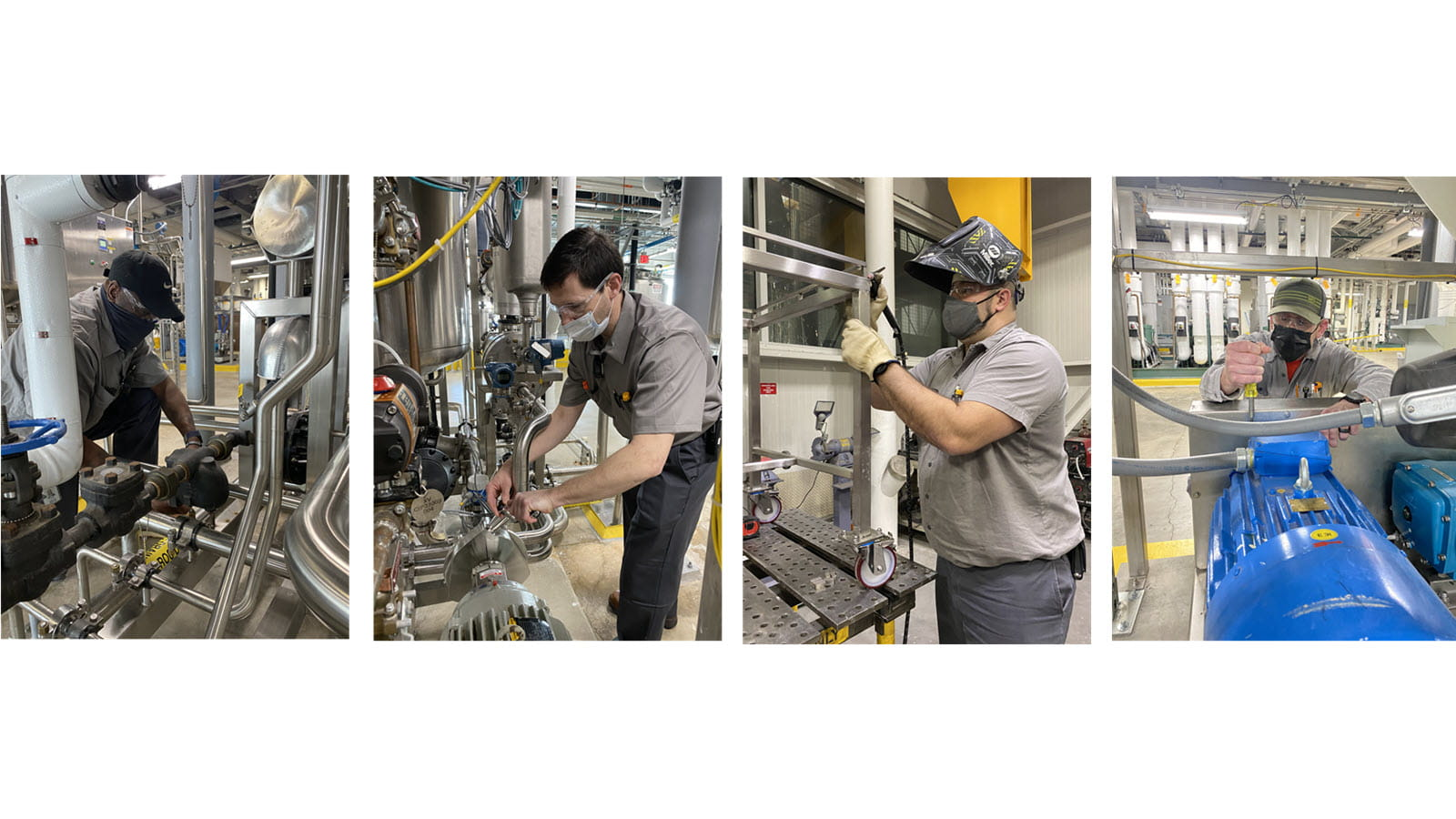 Four apprentice graduates at work in CSL Behring's Kankakee, Illinois facility