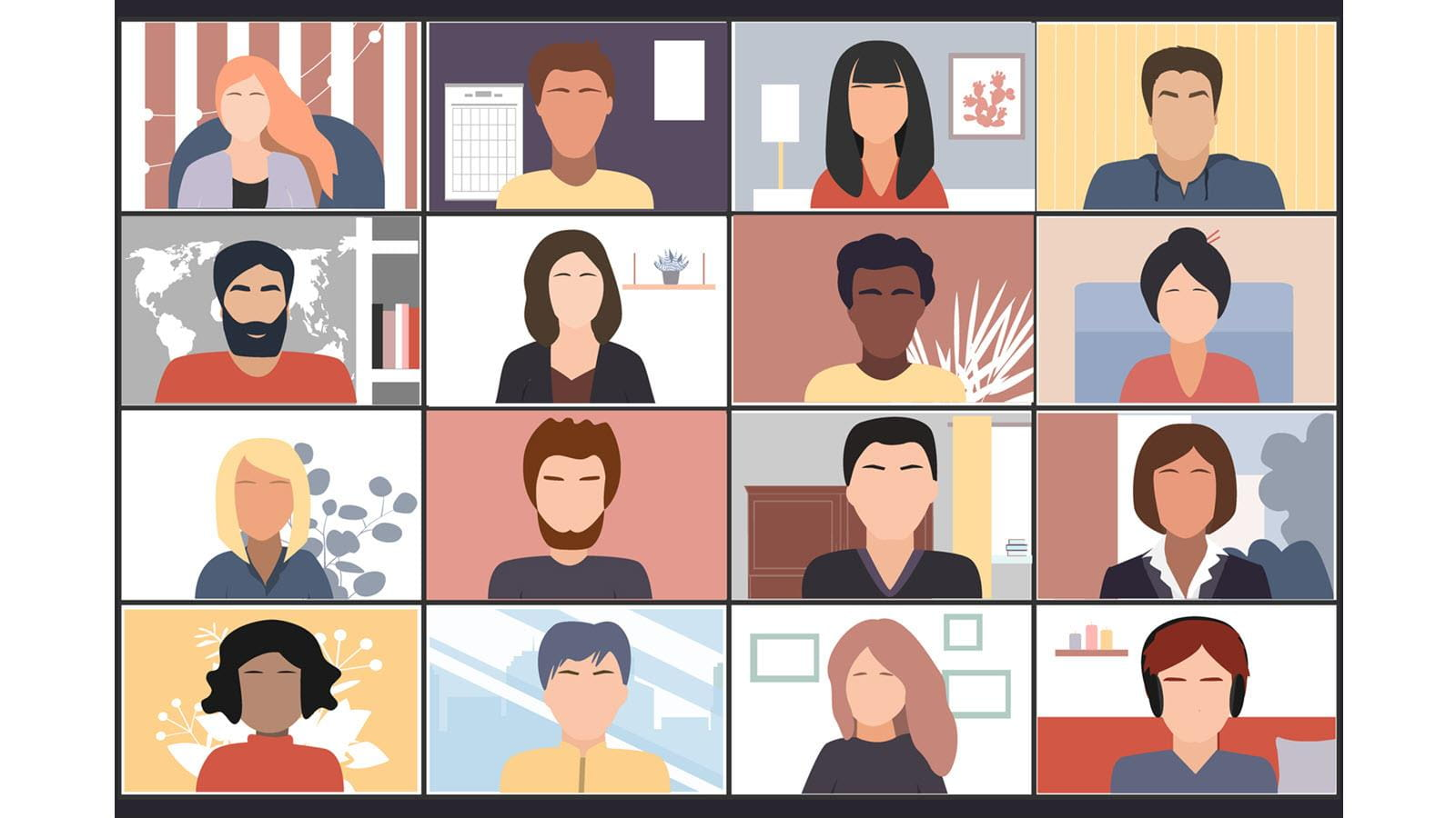 illustration of 16 people on a Zoom call
