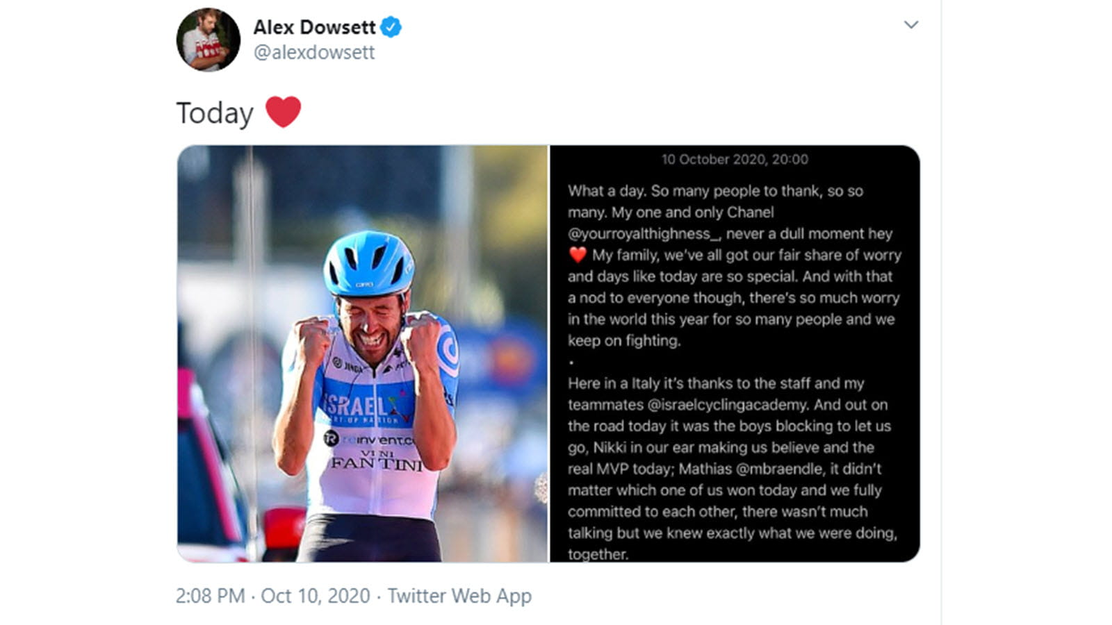 A victory tweet from cyclist Alex Dowsett after the Giro d'Italia