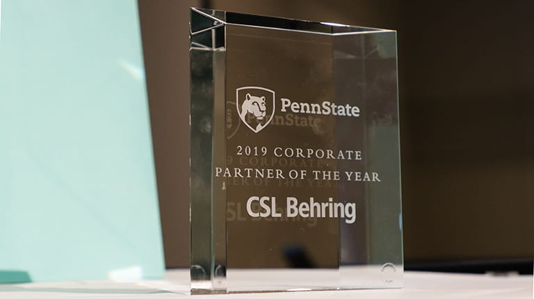 Corporate Partner of the Year Award presented to CSL Behring from Penn State University