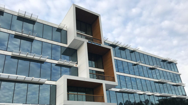 Balconies at CSL Behring's new office building in King of Prussia, Pennsylvania. The open-air spaces are a key design feature of the leading-edge site.