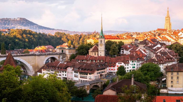 Bern Switzerland in summer with sun shining