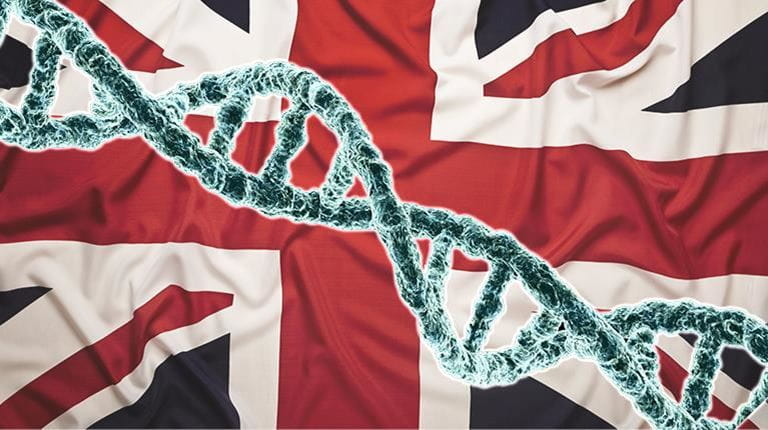 British flag with graphic of DNA helix