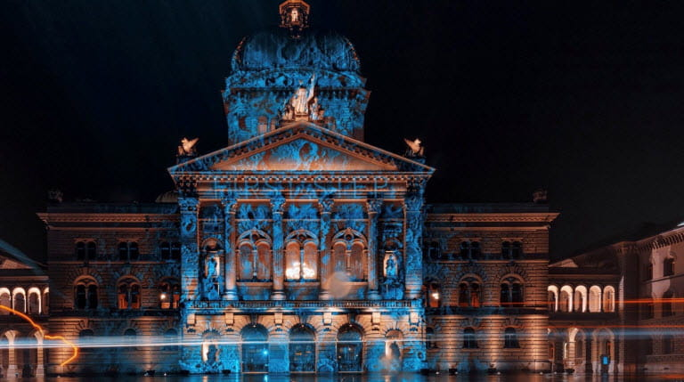 winter light show at Parliament Building in Bern