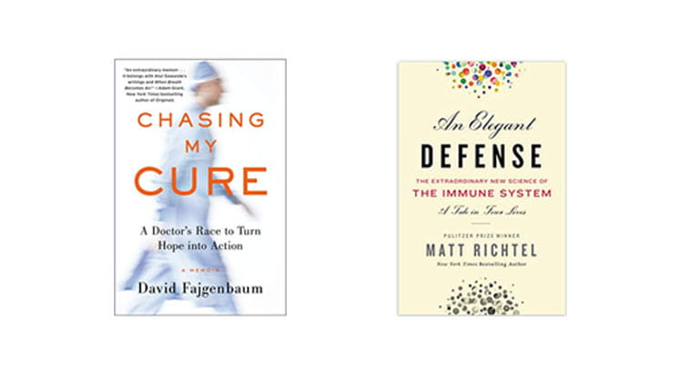 Book covers for Chasing My Cure and An Elegant Defense