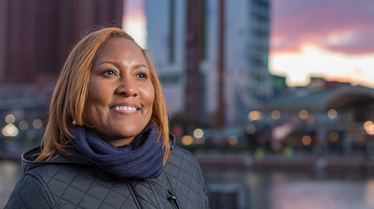 Cheryl Blackwell-Johnson at Baltimore's Inner Harbor
