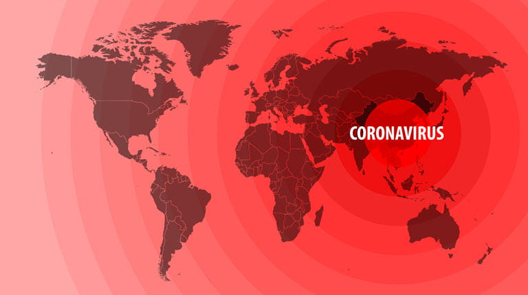 world map coronavirus impact