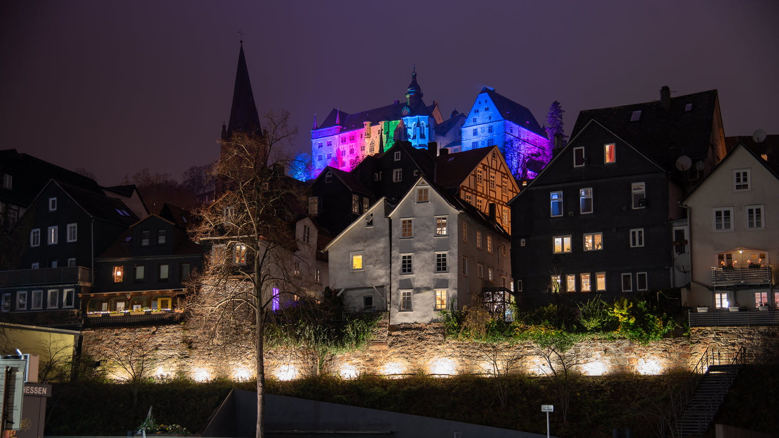 Marburg castle illuminated for the holidays