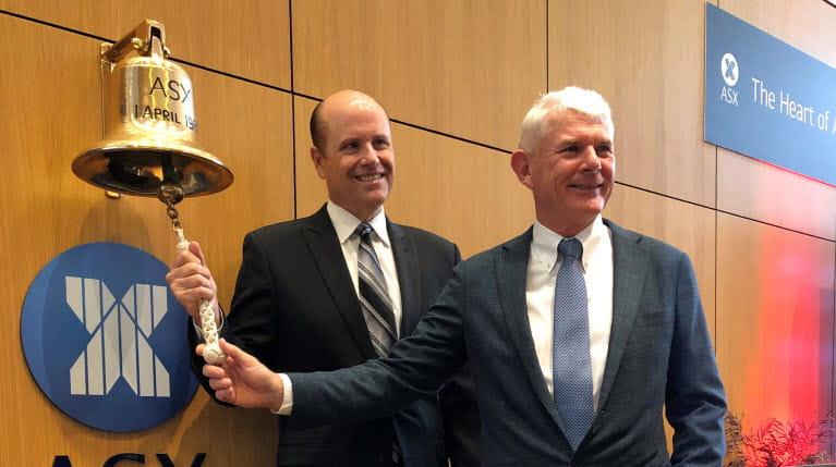 CSL CEO Paul Perreault and Brian McNamee at ASX anniversary