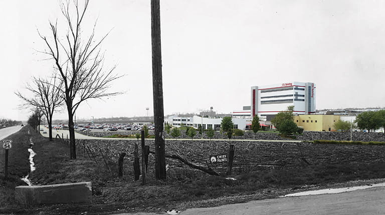 Composite image of CSL Behring biotechnology manufacturing site that combines photos from 1950s and today