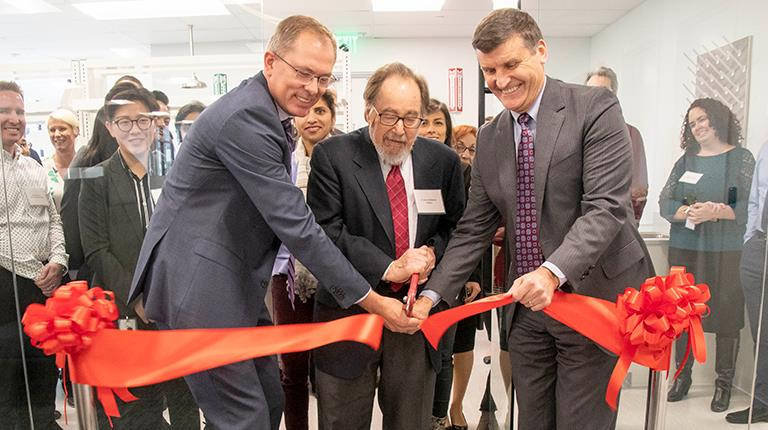ribbon cutting at an expanded R&D facility in southern California