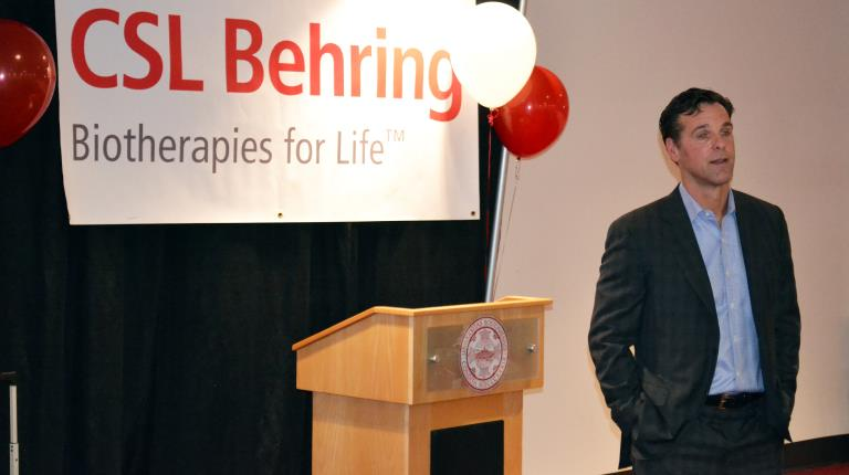 Hemophilia patient and New York Rangers head coach David Quinn at a CSL Behring event in 2016 when he was the head coach at Boston University
