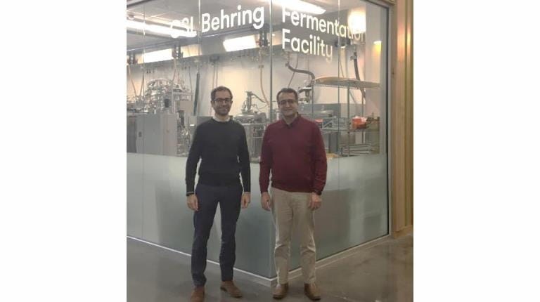 Dr. Ali Demirci (right), Professor-in-Charge of the CSL Behring Fermentation Facility, with CSL Behring's Head of Global CapEx & MRO Sourcing Jose Maldonado at the facility on the campus of Penn State University in University Park, Pa.