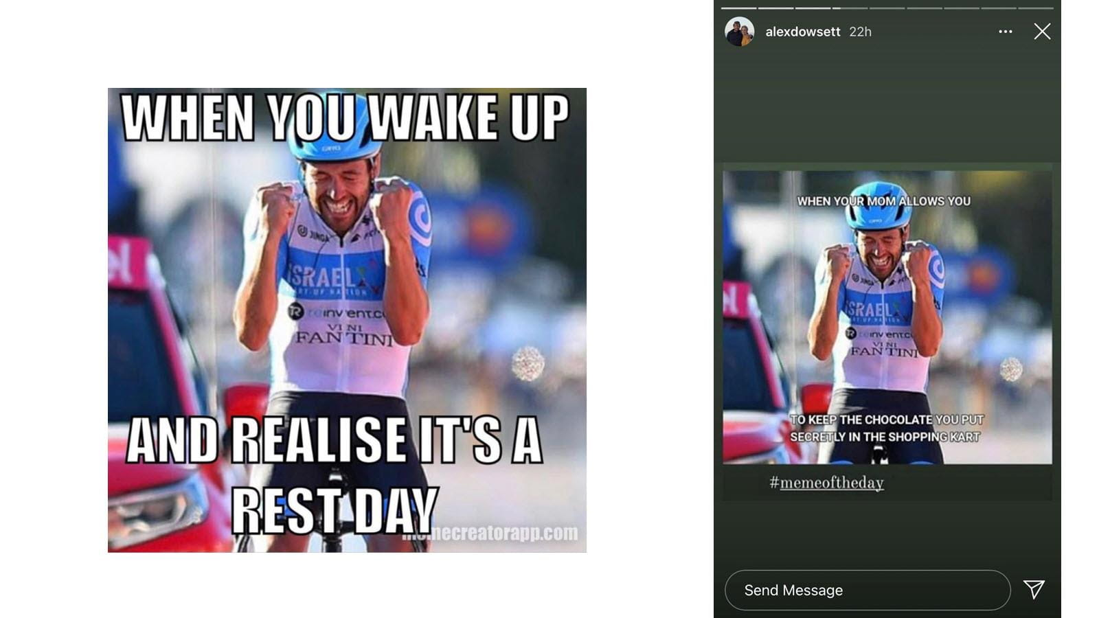Two social media memes featuring Alex Dowsett's cycling victory