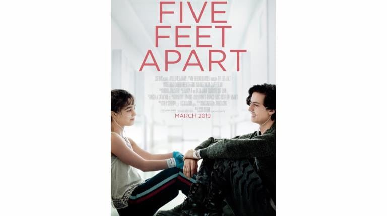 "Theatrical poster for rare disease-themed film ""Five Feet Apart"""