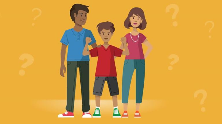 animated boy with parents