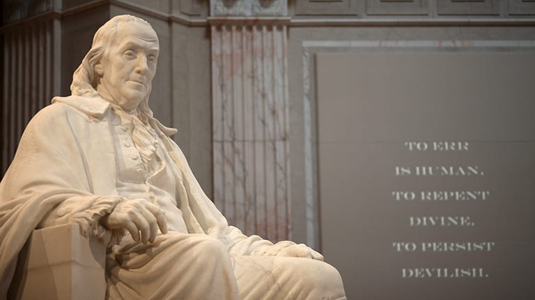 Sculpture of Benjamin Franklin at the Franklin Institute Science Museum in Philadelphia, host of BIO2019