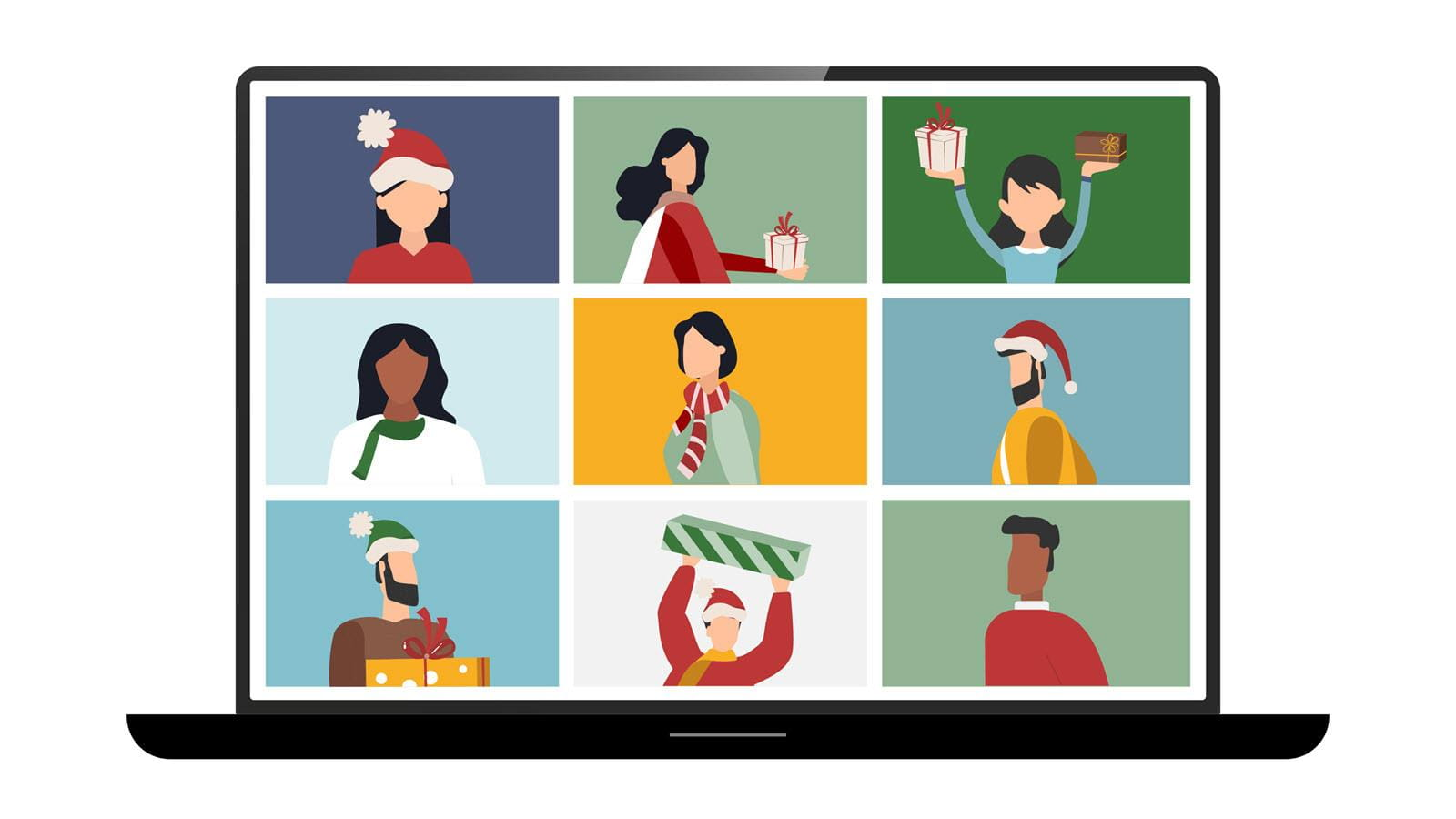 Illustration of a holiday gift exchange via Zoom call