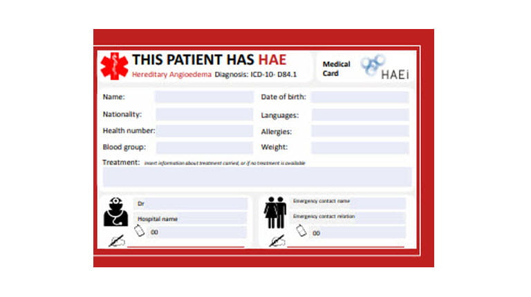 HAEi emergency card in English