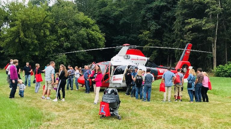 Employees at Safety Day tour helicopter