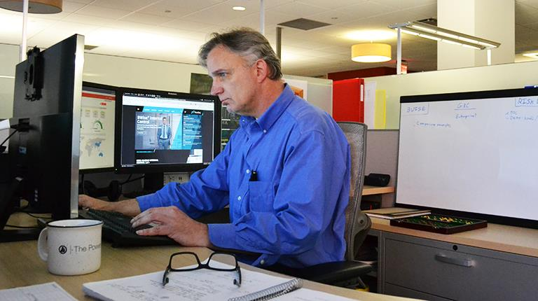 CSL Behring Cyber Security Engineer Allen Hibbert at work in King of Prussia, Pennsylvania