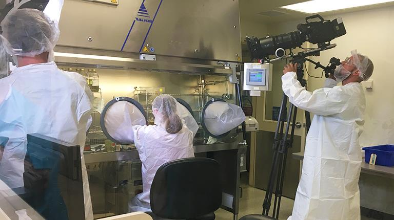 """Film crew from the Science Channel's """"How It's Made"""" program at work shooting a segment at CSL Behring's Kankakee, Illinois, manufacturing site"""