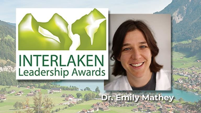 CSL Behring Interlaken Leadership Award winner Dr. Emily Mathey. She aims to advance medical research into neurological disorders.