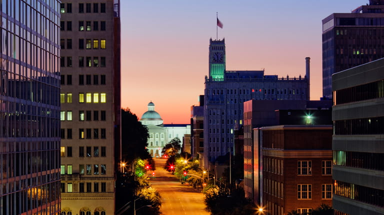 Cityscape of Jackson, Mississippi, at night.