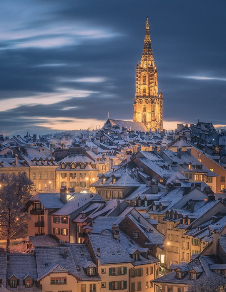 Bern, Switzerland in blue winter scene