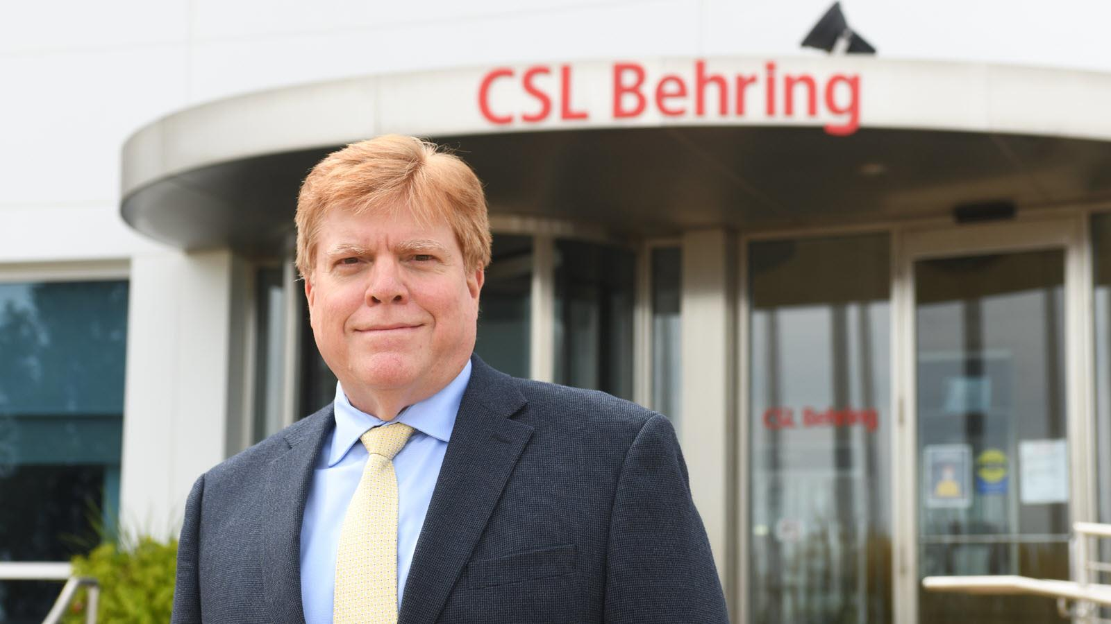 CSL Behring Kankakee GM Jose Gonzales outside the building - credit Kankakee Daily Journal