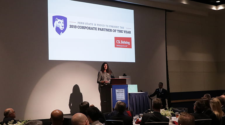 CSL Behring's Karen Etchberger speaks after accepting the Corporate Partner of the Year Award at Penn State University
