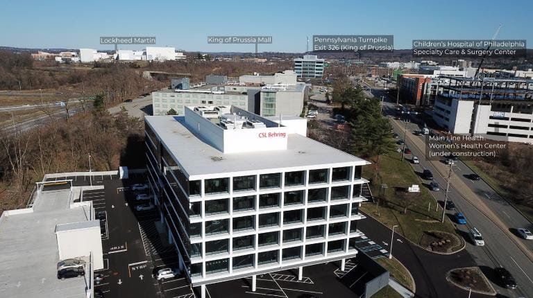Photo of biotech leader CSL Behring's new office building in the growing King of Prussia area