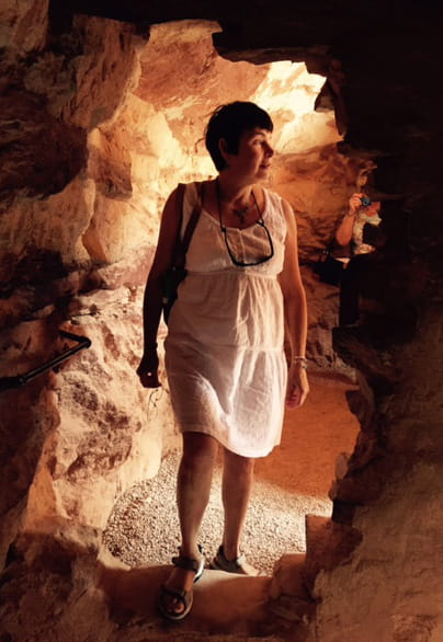 Lynne Doebber exploring the Anasazi in Manitou Springs, Colorado