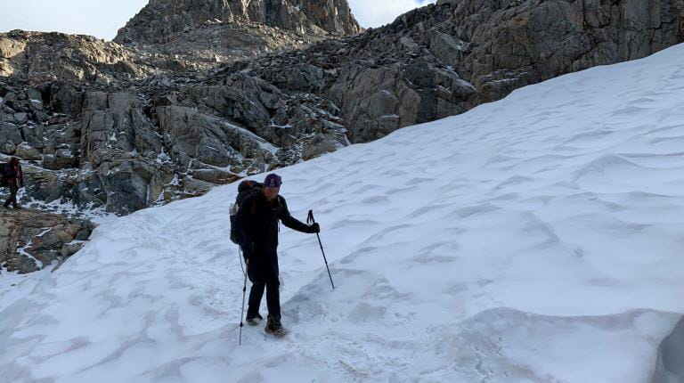 Alpha 1 hiker Jonathan Maidment in snow on trail