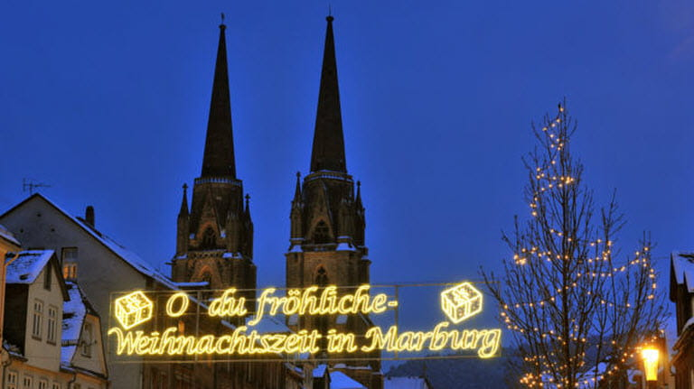 Lit up sign at Marburg Christmas Market