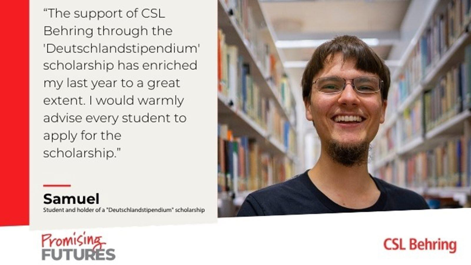 Quote from a scholarship recipient that says he warmly advises other students to apply