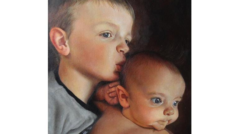 """Mason (left) and Miles Johannsen both have severe hemophilia A. Their portrait has been added to the """"Beyond the Diagnosis"""" exhibit of paintings of children with rare diseases."""