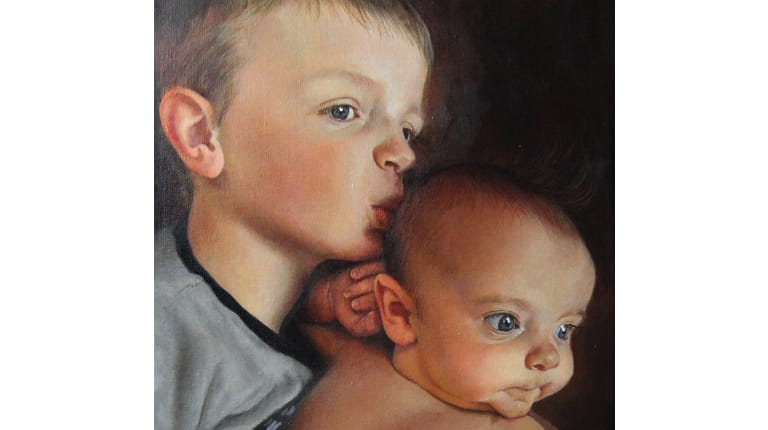 "Mason (left) and Miles Johannsen both have severe hemophilia A. Their portrait has been added to the ""Beyond the Diagnosis"" exhibit of paintings of children with rare diseases."