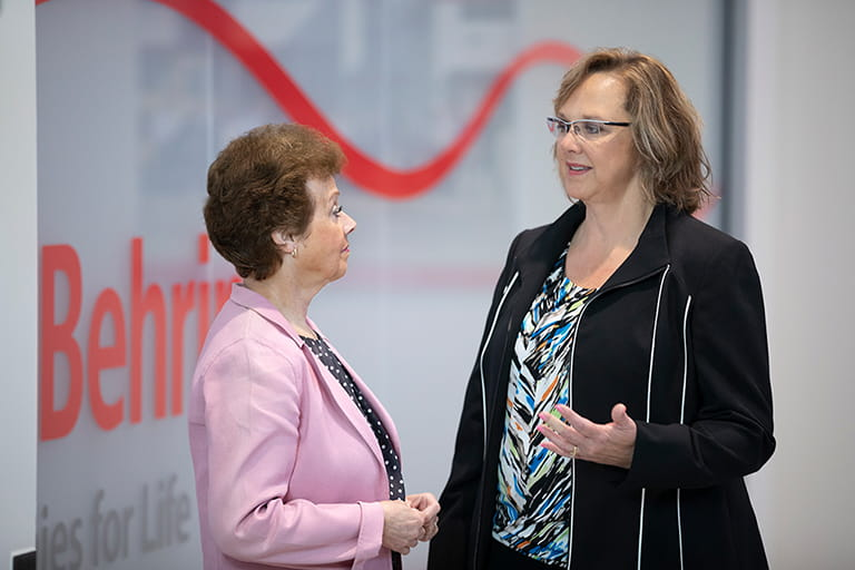Jane Granger (left), with fellow Kankakee manufacturing employee Deborah Mansfield, feels that saving lives is the best part of her job.