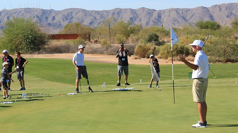 Sean Patrick, right, leading an instructional session at CSL Behring's Gettin' in the Game Junior National Championship in Chandler, Arizona, in September.