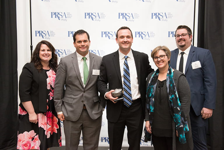 From left to right: Senior Patient Engagement Associate Margaret Mary Conger, Senior Writer Patrick Mairs, Head of Global Content Generation Greg Healy, Editorial Manager Debra Moffitt and Senior Internal Communications Specialist Jim Senft at the PRSA Philadelphia Pepperpot Awards.