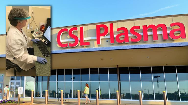 Dr. Heather Strickland and a CSL Plasma center.
