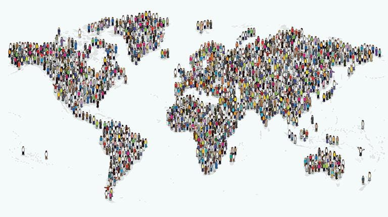 World population map with people