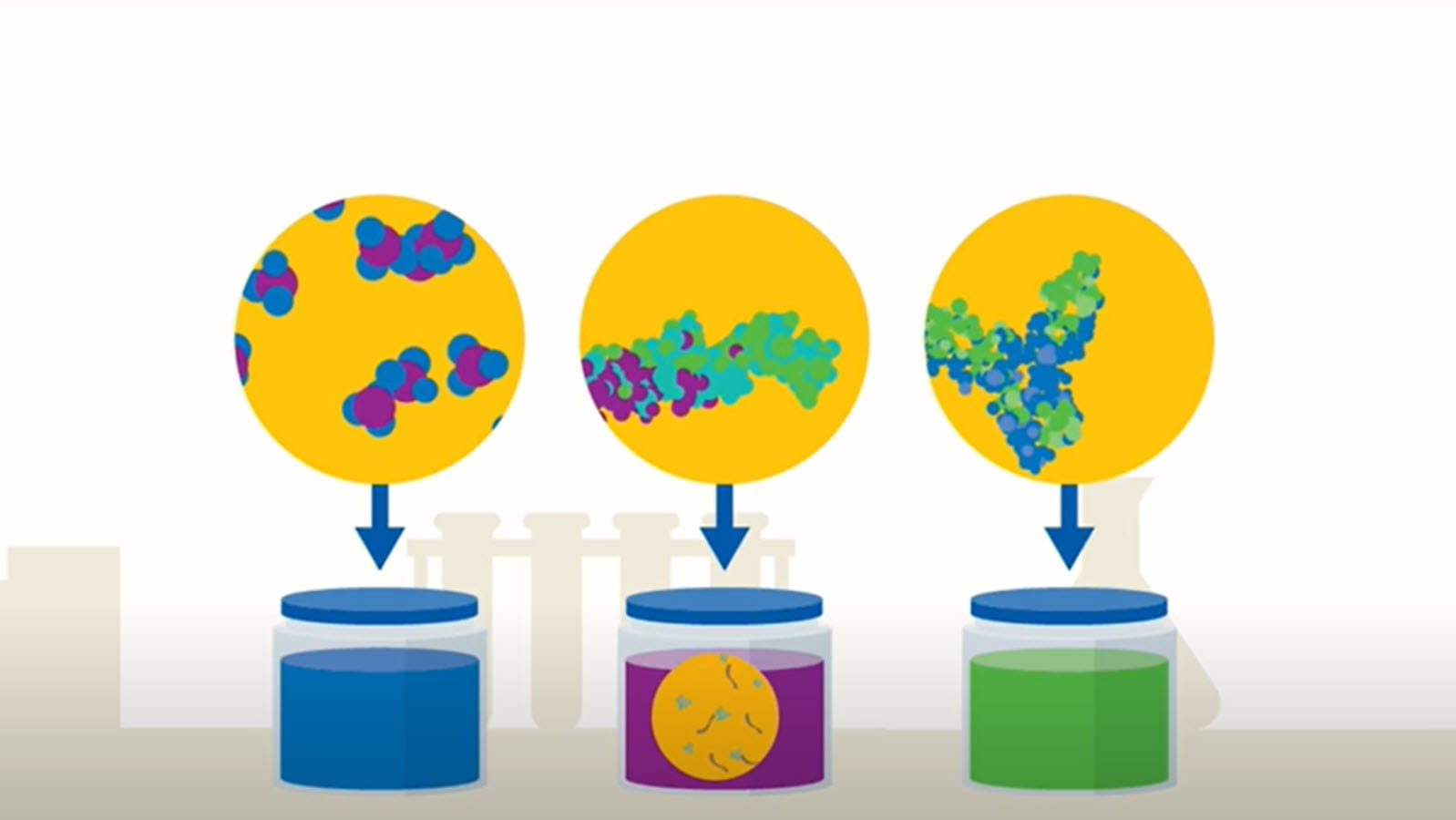 Illustration of different proteins being extracted from plasma