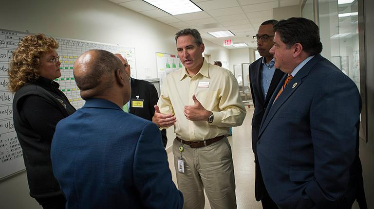 Illinois Governor J.B. Pritzker participated in an employee forum at CSL Behring's leading-edge Kankakee site.