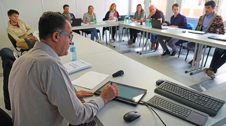 Dr. Ali Demirci leads a fermentation course for CSL Behring employees in Bern, Switzerland.