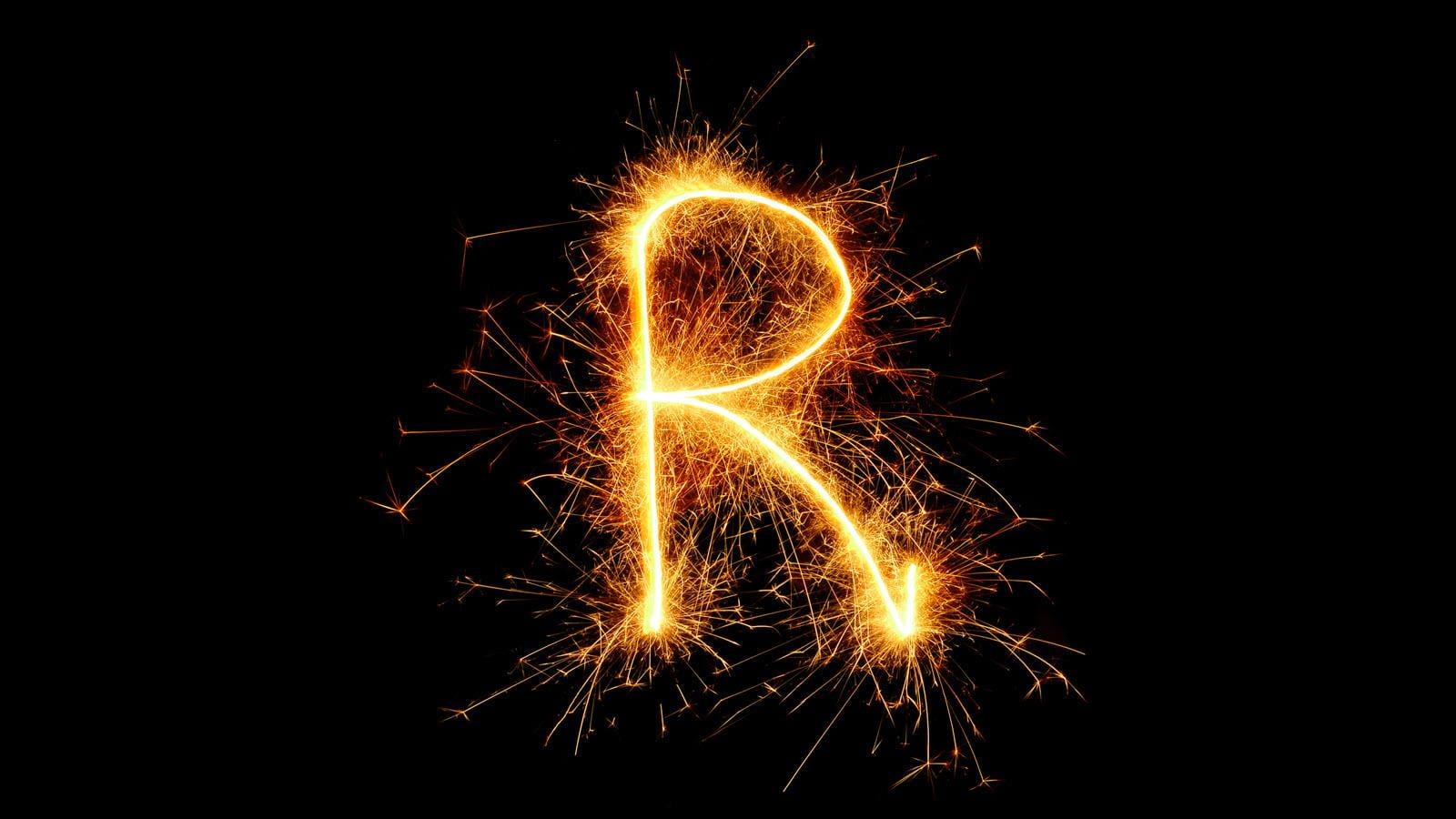 The letter R in sparklers